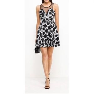 BCBG Generation Party Dress Black White Bubble 4